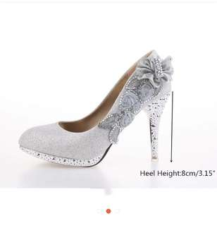 White and Glittery Wedding heels - size 37