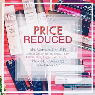 PRICE REDUCED Premium Makeup Brands