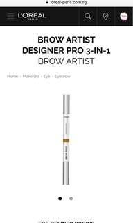 L'Oréal DESIGNER PRO 3-IN-1 BROW ARTIST in Caramel Amber