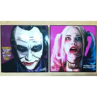 (BW) Joker & Harley Quinn Acrylic Painting (1 set @ 26cm X26cm X 2.5cm) to