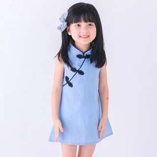 Chinese collar soft maong baby dress