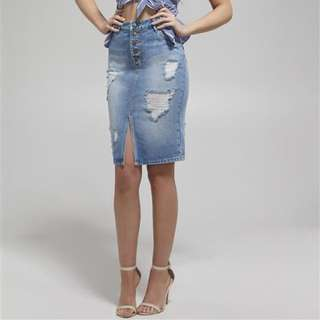 BARDOT DENIM MIDI SKIRT 14