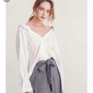White V Neck Collar Shirt