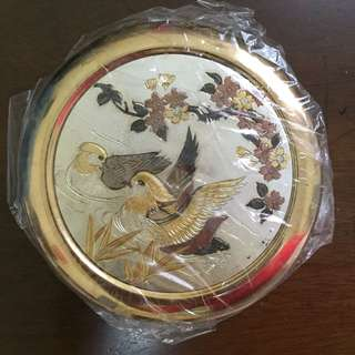 Art of Chokin Japanese gold Edged porcelain ceramic trinket gift box