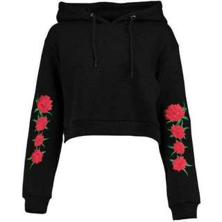 Sweater hodie crop simple flower