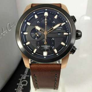 Jam Alexandre Christie AC 6270 Black Rose Gold Original
