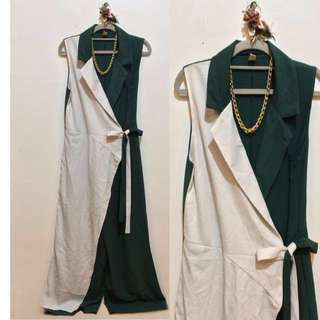 REPRICED📌White and Green Jumpsuit