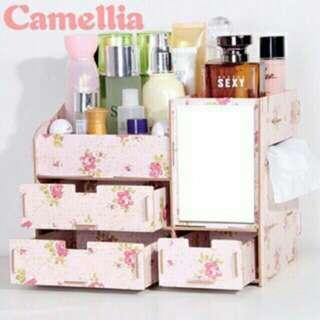 Make up organizer with mirror and tissue holder