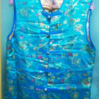 Silk brocade vest jacket turquoise blue