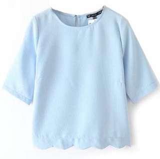 Basic Blue Scalloped Top