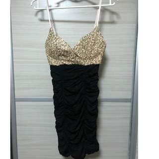 Top gold blinks club dress