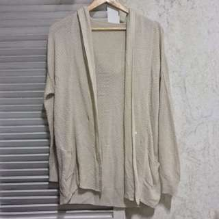 Nude hooded knit cardigan