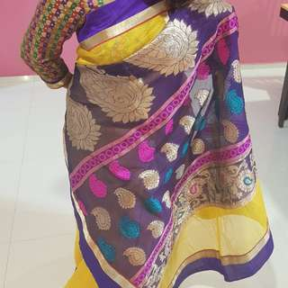Mango colour Saree with  blouse
