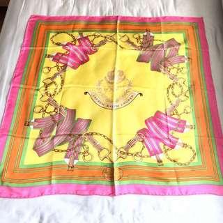 """全新 LAUREN Ralph Lauren, Yellow, Pink, Green, Orange 36x36"""" 100% Silk Scarf~Brand New"""