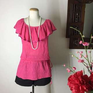 Pink Embroidered Patterned Frill Neckline Top