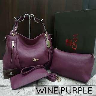 Bonia Hobo Handbag Wine Purple Color