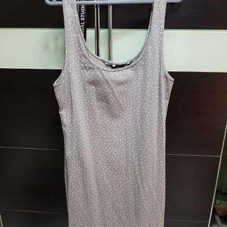BN H&M bodycon grey polka dot dress