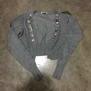 Gray Cropped Cardigan