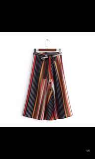 Europe and the United States new high-waist lace spell color stripe button skirts