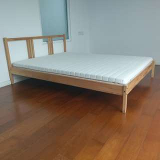 Ikea Fjellse Double/Queen size Bed Frame, pine