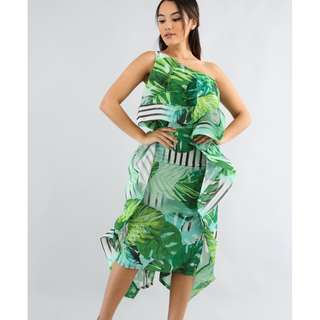 ONE SHOULDER TROPICAL PRINT RUFFLE PARTY MAXI DRESS - GREEN