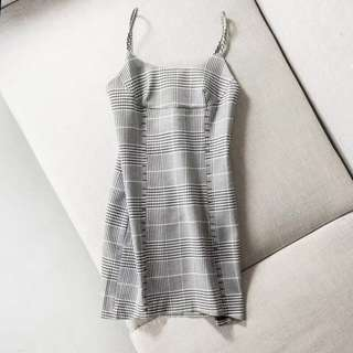 Zara inspired plaided tucked strap dress