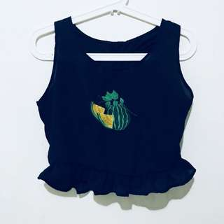 Navy blue Cropped Watermelon TOP