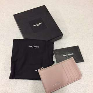 YSL saint laurent card holder pink 荔枝皮暗粉色銀字 full set