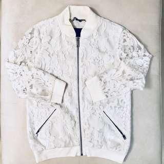 Ted Baker White Lace Bomber Jacket (Size 1 / UK 8 / EU36 / US4 / AU8)