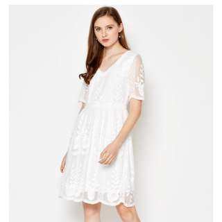 *BNWT* Lecia Lace Flare Dress White Love and Bravery