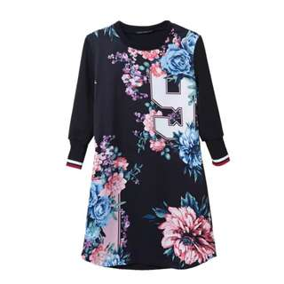 Zara inspired sports trim jersey number floral dress