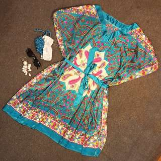 Graphic Handkerchief Satin Dress