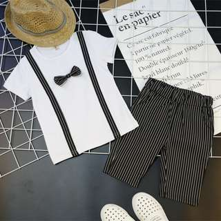 (READY STOCK) BOW SHIRT+ STRIPE PANT