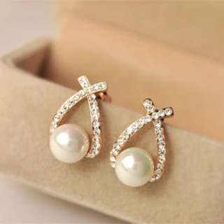 Korean Earrings- cross Pearl Earrings