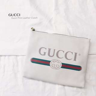 GUCCI Print Leather Clutch Medium Size