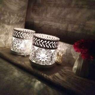 需訂 白色玻璃燭台 可放香薰