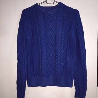 H&M Blue Knitted Sweater