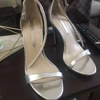 Zara Strappy Heels (Silver)