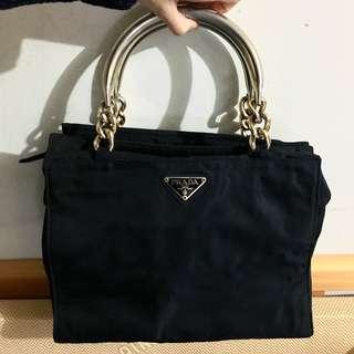 中古Prada Tote Bag 黑色手挽袋 非 LV Hermes Gucci Dior Celine
