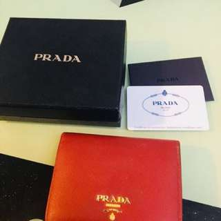 Prada wallet (red, small, 95% new)