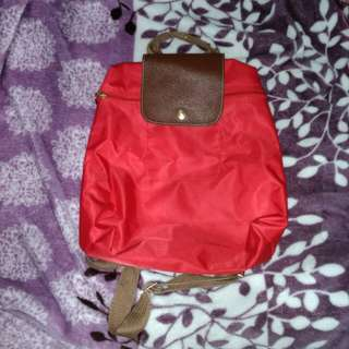 Red Longchamp Backpack
