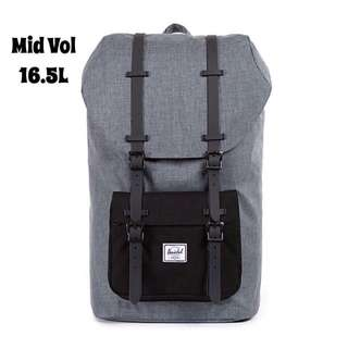 [INSTOCK] HERSCHEL SUPPLY LITTLE AMERICA MID VOLUME (CHARCOAL CROSSHATCH/BLACK)