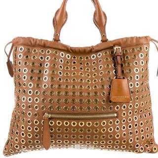 Burberry Prorsum Big Crush Grommet Handbag, Tan Brown Leather