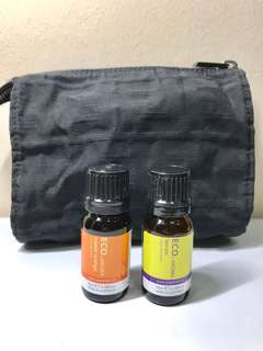 ECO. AROMA Sweet Orange + Lemon essential oils of PHARMACEUTICAL GRADE. 100% PURE ESSENTIAL OIL. 10ML. Brand New. AUTHENTIC. FREE : FENDI DESIGNER COSMETIC POUCH BLACK.
