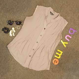 Coffee Brown Lacy-Sleeveless Blouse (FS)