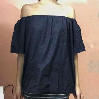 Blue off-shoulder top