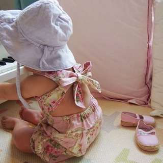 PROVENCE ROSE ROMPER WITH BOW TIE BACK PINK/ GREEN $50 EACH
