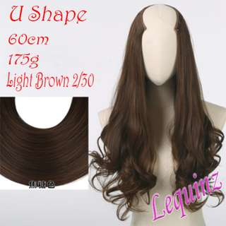 4 Clips Semi Wavy U Shape Hair Extensions Clip On Light Brown
