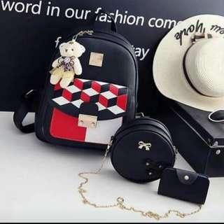 3in1 bag pack w/teddybeer 💕