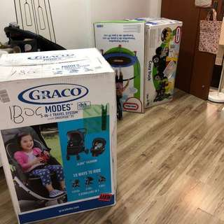 Graco travel system and Little Tikes Cozy Truck & Trampoline orders safely arrived
